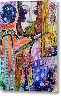 Metal Print featuring the mixed media Observing The World Through A Crack In The Universe by Mimulux patricia no No