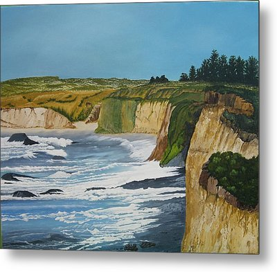 Ocean Cliffs Metal Print by Joan Taylor-Sullivant