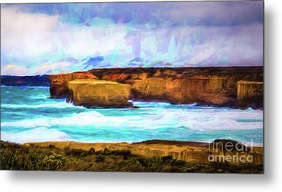 Metal Print featuring the photograph Ocean Cliffs by Perry Webster