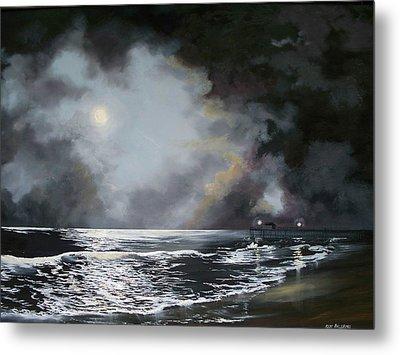 Metal Print featuring the painting ocean grove moon II by Ken Ahlering