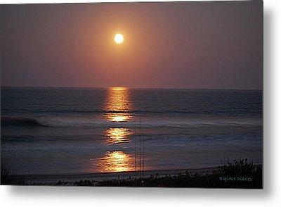 Ocean Moon In Pastels Metal Print by DigiArt Diaries by Vicky B Fuller