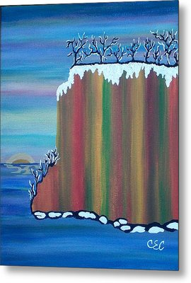 Metal Print featuring the painting October Snow by Carolyn Cable