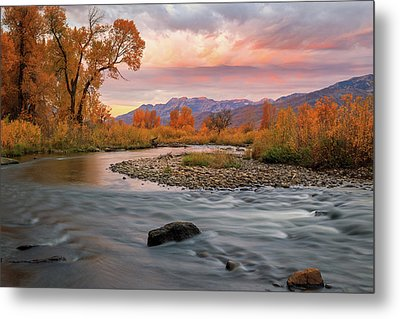 Metal Print featuring the photograph October Sunrise At The Provo River. by Johnny Adolphson