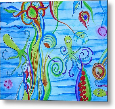 Metal Print featuring the painting Octopus' Garden by Erika Swartzkopf
