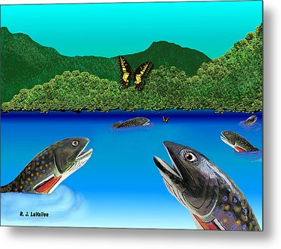 Of Brook Trout And Butterflies Metal Print