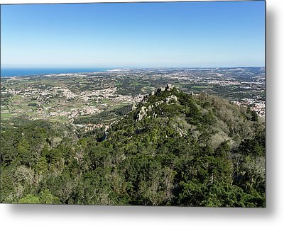 Of Castles And Vistas - An Aerial View Of Moors Castle At Sintra Portugal Metal Print