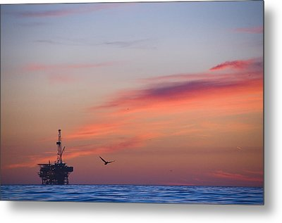 Offshore Oil And Gas Rig In The Pacific Metal Print by James Forte