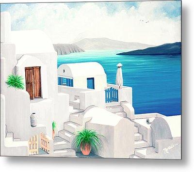 Oia On Santorini - Prints From My Oil Paintings Metal Print