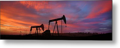 Oil Field Sunset Metal Print by Greg Iger