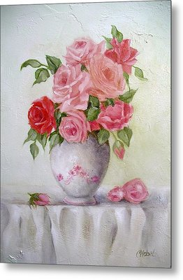 Oil Vase Rose Metal Print