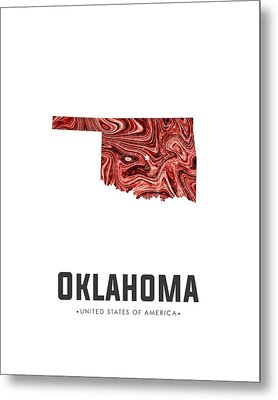 Oklahoma Map Art Abstract In Deep Red Metal Print