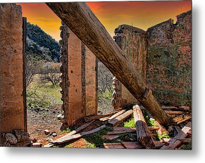Ol' Building In Desert's Winter Warmth Metal Print by Charles Ables