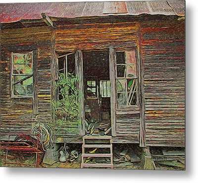 Old Abandoned House - Ghost Dogs Trotting Metal Print by Rebecca Korpita