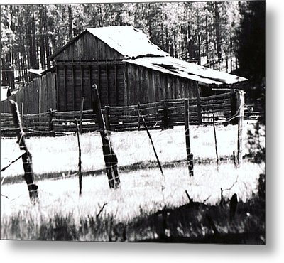 Metal Print featuring the photograph Old Barn Alpine Az  by Juls Adams