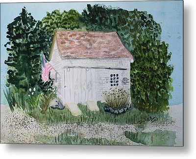 Metal Print featuring the painting Old Barn In Eastham Ma by Donna Walsh