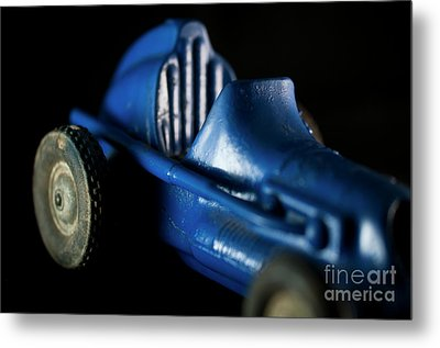 Old Blue Toy Race Car Metal Print by Wilma Birdwell