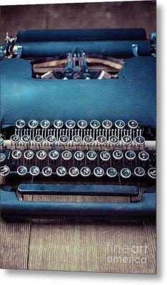 Old Blue Typewriter Metal Print