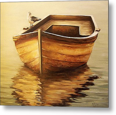 Metal Print featuring the painting Old Boat by Natalia Tejera