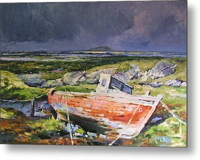 Old Boat On Shore Metal Print by Conor McGuire