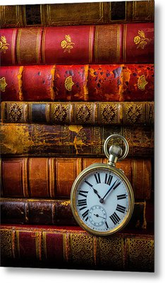 Old Books And Pocket Watch Metal Print