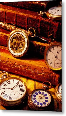Old Books And Pocket Watches Metal Print