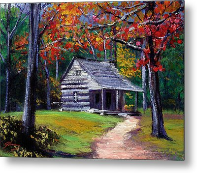 Old Cabin Plein Aire Metal Print