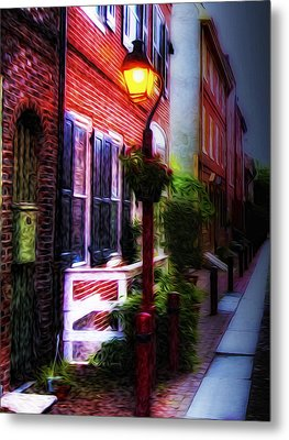 Old City Streets - Elfreth's Alley Metal Print by Bill Cannon