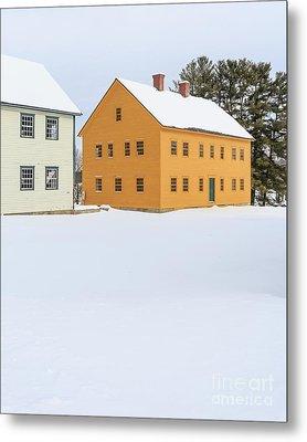 Old Colonial Wood Framed Houses In Winter Metal Print