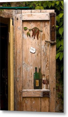 Old Door And Wine Metal Print by Sally Weigand