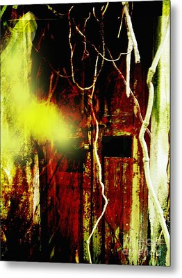 Old Door Ghost Halloween Scary Card Print Metal Print by Kathy Daxon