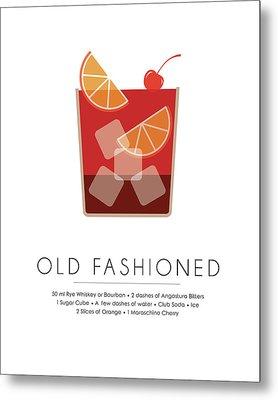 Old Fashioned Classic Cocktail -  Minimalist Print Metal Print