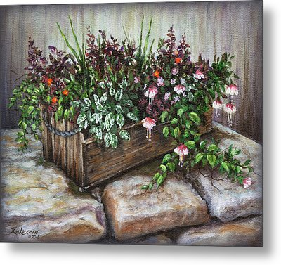 Metal Print featuring the painting Old Flower Box by Kim Lockman
