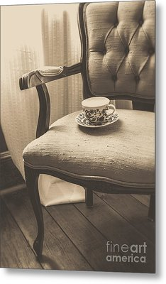 Old Friend China Tea Up On Chair Metal Print by Edward Fielding