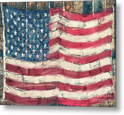 Metal Print featuring the painting Old Glory by Carrie Joy Byrnes