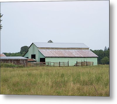 Old Green Barn    Washington State Metal Print by Laurie Kidd