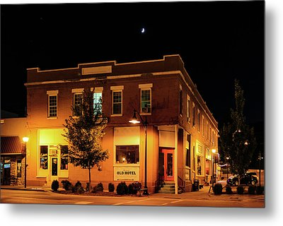 Old Hotel Moonlight Metal Print