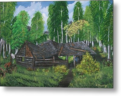 Metal Print featuring the painting Old Log Cabin And   Memories by Sharon Duguay