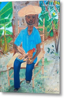 Metal Print featuring the painting Old Man And His Rooster by Nicole Jean-louis