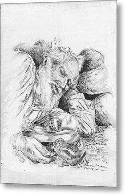 Old Man Feeding Chipmunk Metal Print by Samuel Showman