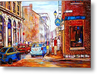 Old Montreal Paintings Calvet House And Restaurants Metal Print by Carole Spandau