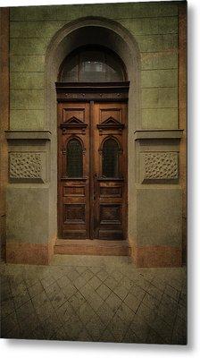 Old Ornamented Wooden Gate In Brown Tones Metal Print