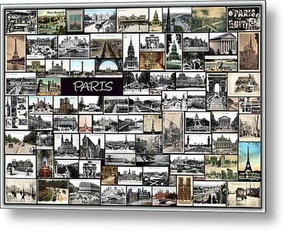 Old Paris Collage Metal Print by Janos Kovac