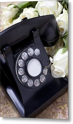 Old Phone And White Roses Metal Print by Garry Gay