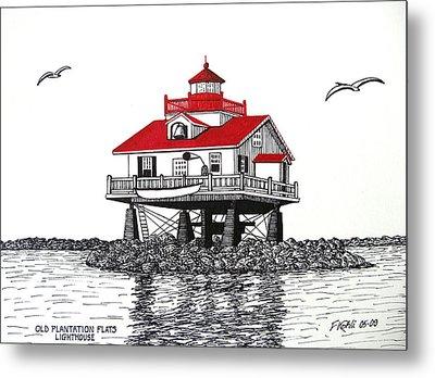Old Plantation Flats Lighthouse Drawing Metal Print
