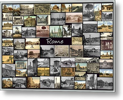 Old Rome Collage Metal Print by Janos Kovac