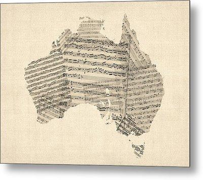 Old Sheet Music Map Of Australia Map Metal Print