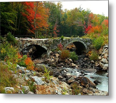Old Stone Bridge In Fall Metal Print by Lois Lepisto