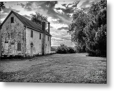 Old Stone House Black And White Metal Print