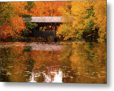 Metal Print featuring the photograph Old Sturbridge Village Covered Bridge by Jeff Folger
