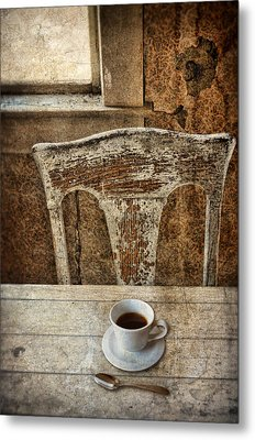 Old Table And Chair With Coffee Metal Print by Jill Battaglia